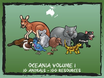 Oceania / Australia Volume 1 -- 10 Wild Animals -- 100 K-2 Resources