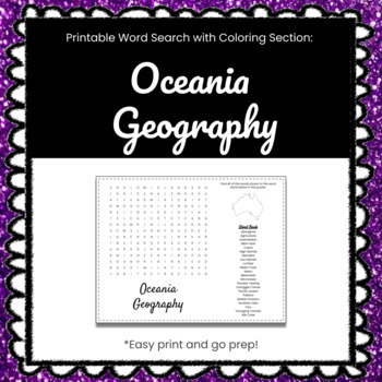 Oceania Geography Printable Word Search Puzzle