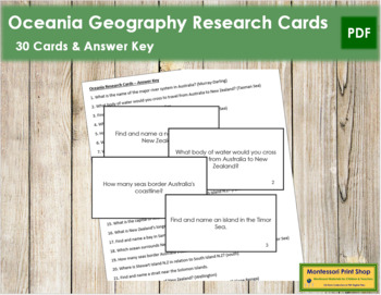 Oceania Geography Research Cards
