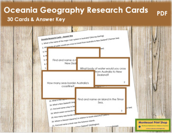 Oceania Geography Research Cards (color borders)