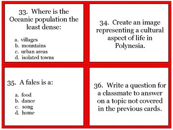 Oceania Geography Task Cards