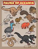 Oceania fauna clip art (Australia, Madagascar, New Zealand)