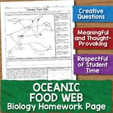 Oceanic Food Web Biology Homework Worksheet