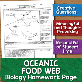 Oceanic Food Web Biology Homework Worksheet