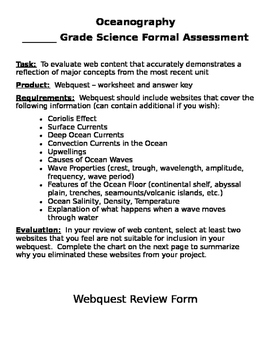Oceanography - Create Your Own Webquest Assessment