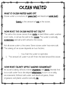 Oceanography Note and Activity Pack