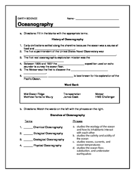 Oceanography Review/ Warm-up