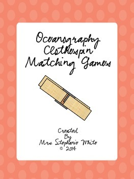 Oceanography Vocabulary Clothespin Matching Games