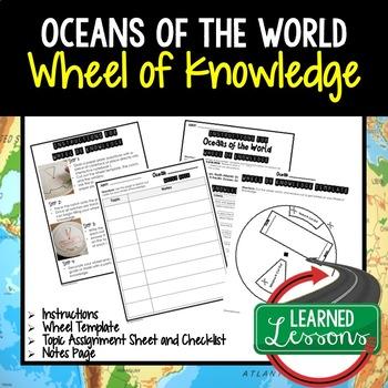 Oceans Activity, Wheel of Knowledge (Interactive Notebook)