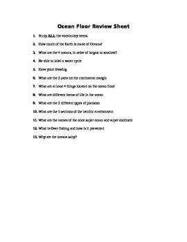 Oceans - Assessment (Quiz)