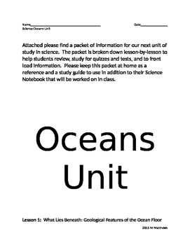 Oceans Front Loading Study Guide