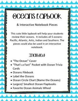 Oceans Lap book & Interactive Notebook / Geography