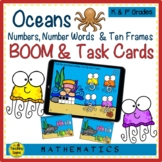 Oceans Numbers, Number Words & Ten Frames BOOM & Task Cards Match Game