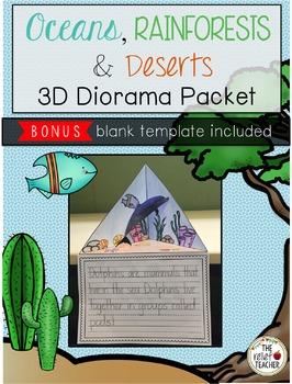 Oceans, Rainforests & Deserts 3D Diorama/Triorama Packet