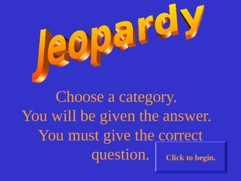 Oceans - Review Game - Jeopardy