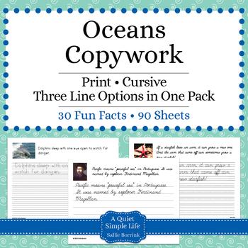 Oceans Unit - Copywork - Cursive - Handwriting