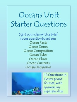 Oceans Unit Starter Questions
