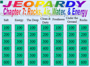 Oceans and Atmosphere Earth Sciences Jeopardy Power Point Interactive Scoreboard