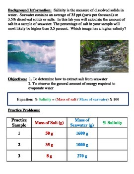 Oceans and Salinity LAB w/ MATH: Modified Version (Takes Oceans to a New Level)