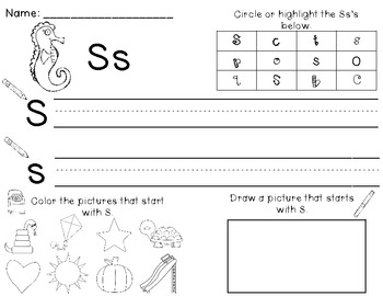 Oceans of ABC's: Letter ID, Handwriting Practice and Beginning Sounds