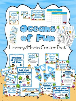 Oceans of Fun Library Media Center Pack {with EDITABLE passes and signs}