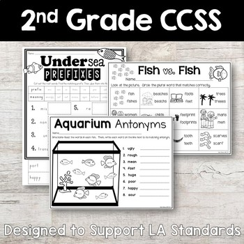 Oceans of Fun - Ocean Themed - NO PREP Second Grade Worksheets for Language Arts