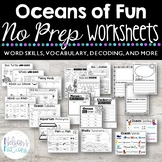 Oceans of Fun: Ocean Themed NO PREP Second Grade Worksheets for Language Arts