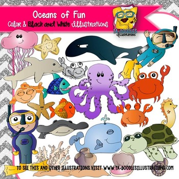 Oceans of Fun Sea Life and Diver Clipart