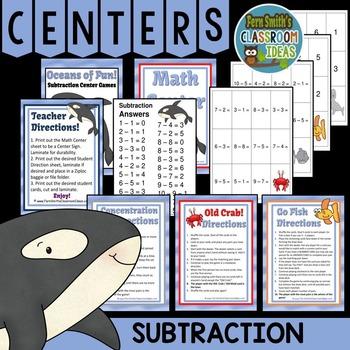 Oceans of Fun Subtraction Center Games
