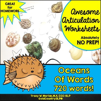 #may2018slpmusthave Oceans of Words Awesome Articulation Worksheets 720 Words