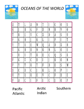 """Oceans """"Word Search"""""""
