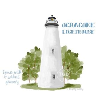Ocracoke Lighthouse Clip Art, Beach clip art Printable Tracey Gurley Designs