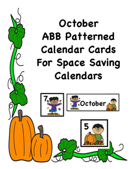 Oct. ABB Fall Theme Calendar Cards With Cute Graphics