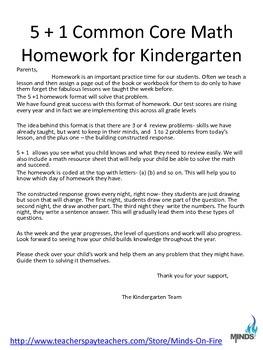 Kindergarten October Math daily work/homework w/ Constructed Responses &Examplar