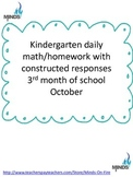 Kindergarten October Math daily work/homework w/ Construct