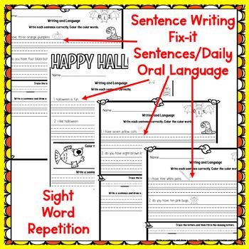 Oct. Morning Work, First Grade~Language, Sight Word Practice~NO PREP JUST PRINT