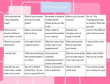 Oct-Nov-Dec Writing calendars