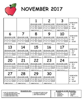 Oct2017-June2018 Behavior Calendar