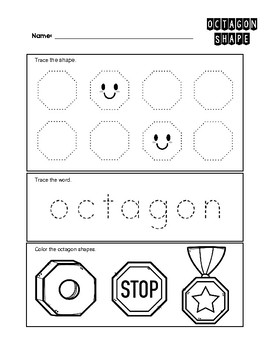 Octagon 2-D Shape Worksheet - Trace and Color