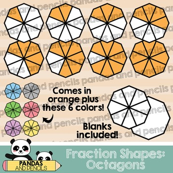Octagon Fractions Clip Art (Thick Lines)
