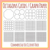 Octagon Grids / Graph Paper Commercial Use Clip Art Pack