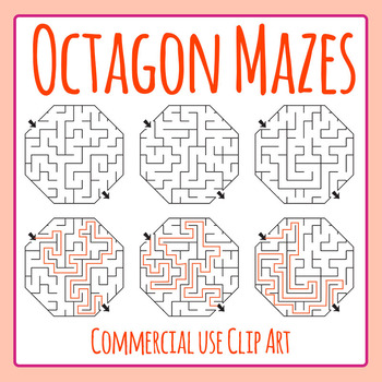 Octagon Mazes Clip Art Set for Commercial Use