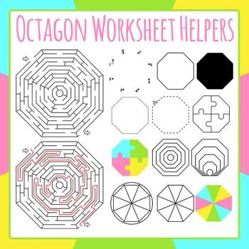 Octagon Worksheet Helpers Shapes Clip Art Set for Commercial Use