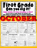 1st Grade Can U Dig It! October Close Reading Informational Text 100% CC Aligned
