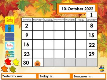 October 2017 Calendar for the  Promethean Board (ActivBoard)