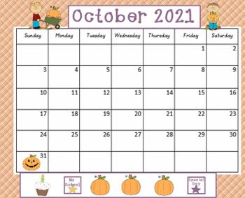 October 2017 Activboard Calendar
