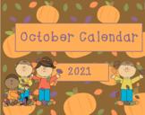 October 2018 Activboard Calendar