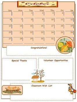 2013 October Classroom Newsletter Template