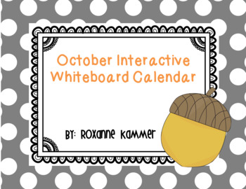October 2016 Interactive Whiteboard Calendar