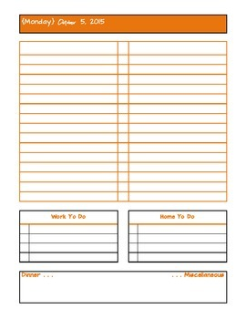 October 2015 Daily Two Prep Planner